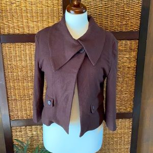 Tulle large wool acrylic spandex brown jacket